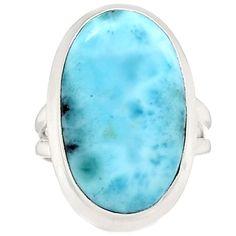 Larimar - Dominican Republic 925 Sterling Silver Ring Jewelry s.6 LRIR383 - JJDesignerJewelry