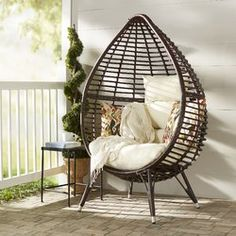 Craft a bohemian-inspired den seating group with this Teardrop Patio Chair with Cushions, featuring an openwork teardrop design and a tufted beige cushion. Outdoor Wicker Chairs, Patio Chairs, Outdoor Seating, Outdoor Furniture, Adirondack Chairs, Room Chairs, Dining Chairs, Outdoor Dining, Furniture Decor
