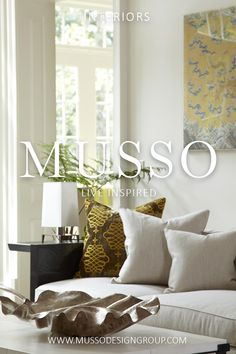 Interior design services offered by MUSSO are focused on a simple philosophy: Design elegant, comfortable, and timeless spaces that delight and inspire. Keywords: Christian Liaigre, collection, custom, contemporary, wall art, yellow, chartreuse, linen, neutral, calming, relaxing, casual, luxurious, living room, family, room, cozy, comfy, durable, timeless, organic, natural, comfortable, sunny, airy, light filled, bright, throw pillows, sofa, plexiglass frame, small lamp