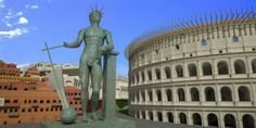 Reconstruction picture of Colossus of Nero next to the colosseum. The statue was made of marble and bronze and was about 100 feet high. After Nero fell from favor it was remade into the sun god.  It stands next to the later Colosseum building which was built over the area where his artificial lake had been.