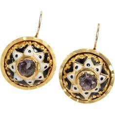 18th C.  Amethyst & Enamel Button Earrings