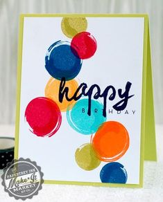 Bright Birthday Bubbles Card by Betsy Veldman for Papertrey Ink (July 2014)
