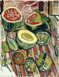 'Honydew and Watermelon and Turban and Pear - Gourds', 1961 - John Bratby