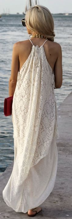 Free People White 70's Lace Rounded Hem Maxi Halter Dress by A spoonful of Style