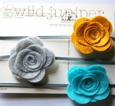 Baby Headbands - Flower Headbands - Girl Headbands - Infant Headbands - Mustard, Turquoise, and Gray Baby Headband Set