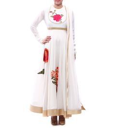 #Ivory Embroidered #Chanderi #Silk #Anarkali #Suit by #Rohit #Bal at #Indianroots