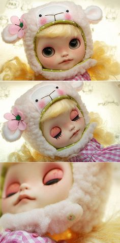 Blythe animal hat with fur chin strap - pale pink sheep | Flickr: partage de photos!