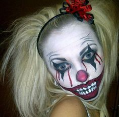"Awesome scary ""it"" clown Halloween make-up"