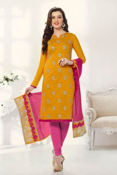 Yellow Banarasi Chanderi Semi Stitched Dress Material