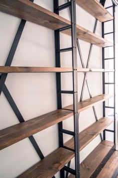 Attached to a brick wall Shelf Furniture, Metal Furniture, White Furniture, Industrial Furniture, Furniture Design, Wood Steel, Wood And Metal, Loft Interiors, Bookcase Shelves