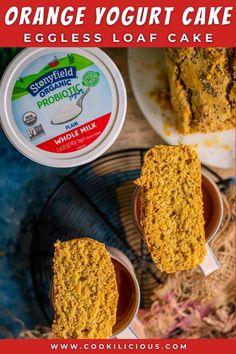 AD This Orange Yogurt Cake is low in fat and eggless! Made with Stonyfield Organic yogurt, wheat flour, and orange zest, this cake is soft, moist, and very delicious! #madewithyogurt #Stonyfield #yogurttotherescue #goodonpurpose #yogurt #orange #zest #loaf #cake #bake #eggless #wholewheat #healthy #oliveoil #nobutter #breakfast #snack Orange Yogurt, Orange Zest, Delicious Cake Recipes, Dessert Recipes, Delicious Snacks, Vegetarian Snacks, Vegan Breakfast Recipes, Eggless Orange Cake, Low Carb Recipes