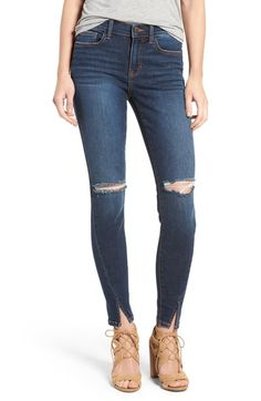 SP Black Slit Front Skinny Jeans available at #Nordstrom