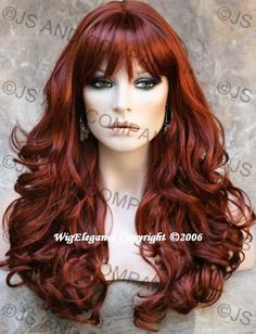 beautiful long brown curly hair | Beautiful Long Wavy Curly Layered Copper Red with Bangs Wig 130 | eBay