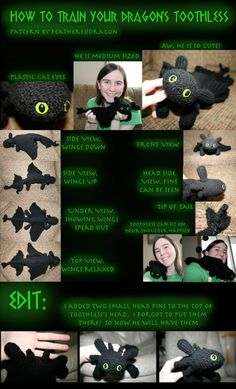 Toothless Dragon (Night Fury) Crochet pattern http://feathereddragon.deviantart.com/art/Crochet-Toothless-the-Dragon-158419641 Thanks to Confessions of Crafty Witches for finding all these excellent dragon patterns! And Cthulu!