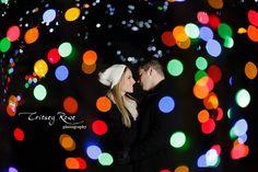 Christmas light wedding photography
