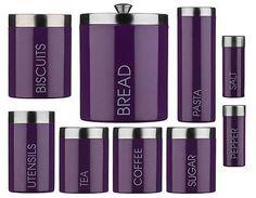 Purple #enamel #storage Canisters Set Tea Coffee Sugar #biscuits Jars Bread  Bin N