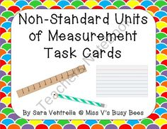 Non-Standard Units of Measurement Task Cards - - Set of non-standard units of measurement themed task cards. 24 different cards using both physical measurement cards as well as identifying what types of measurement should be used in specific situations. Nonstandard Measurement, Measurement Activities, Math Activities, Length Measurement, Math Classroom, Kindergarten Math, Teaching Math, Preschool Math, Classroom Organization