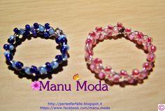 Anellini intrecciati blu e rosa