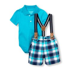 Newborn Baby Boys Short Sleeve Polo Bodysuit Suspenders And Plaid Shorts Set - Blue - The Children's Place