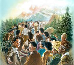 Pessoas de muitas nações sobem ao monte de Jeová