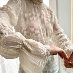 A feminine piece to add to your wardrobe for the new season - this mock neck blouse is cut from a crinkled semi-sheer fabric and detailed with ruffled sleeves. White Outfits, Summer Outfits, Oak And Fort, Fashion Details, Fashion Design, Sheer Fabrics, Sheer Blouse, Everyday Fashion, Fashion Brand