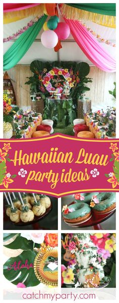 Don't miss this gorgeous Hawaiian Luau birthday party! The floral birthday cake is amazing!! See more party ideas and share yours at CatchMyParty.com