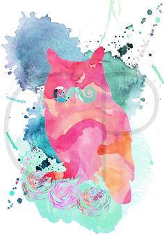 Buho, buho para imprimir, buho digital, buho colorido, acuarelas, animales, bigote, pajaros, aves, ilustraciones coloridas, decoracion,