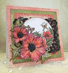 Card made using the Blazing Poppy collection from Heartfelt Creations. Made by Liz Walker