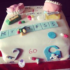 Themed Cakes - 60th Birthday Themed Cake | All Things Yummy | A super cute and funny 60th birthday theme!! #oldage #60thbirthday #60thbirthdayparty #60thbirthdaycake #60thbirthdaycelebration #60thbirthdaybash #medicine #tablets #capsules #walkingstick #dentures #teeth #ointment #medicinebox #wheelchairsign #atyummy #cake #customisedcake #redvelvet #happybirthday #birthdaycake #desserts #bakedwithlove #dessertgram