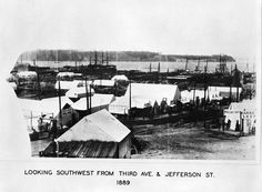 Looking southwest from 3rd Ave. and Jefferson St. Tents in Pioneer Square after Great Fire of 1889.
