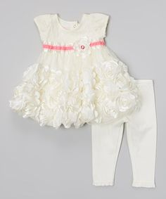 Another great find on #zulily! Beige Petal Dress & Leggings - Infant by Nannette Baby #zulilyfinds