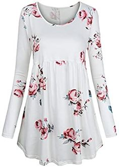 Kurta Designs, Blouse Designs, Blouse Styles, Long Sleeve Tunic, Long Sleeve Tops, Floral Tops, Casual Dresses, Fashion Dresses, Blouses For Women