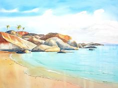 The Baths Virgin Gorda Beach Boulders watercolor painting by Carlin Blahnik.  The Baths is a beautiful collection of huge boulders, tropical white sand beaches and rock pools of sea water. This idyllic scene is an exotic beach paradise destination for tourists. Located in the Caribbean on Virgin Gorda in the British Virgin Islands, BVI.   The coast of this tranquil turquoise lagoon offers romantic landscape, seascape and cloudscape background for scenic holiday photos…
