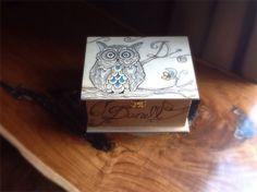 Custom hand drawn owl wooden keepsake box personalized colours rhinestones name monogram gift on Etsy, $25