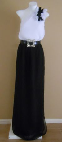 HARAH DESIGNS one shoulder chiffon Tux dress made to measure at harahdesigns.com
