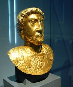 Ancient Celtic bust of Marcus Aurelius, dates to about 180 AD, from Avenches, Switzerland.  Currently located at the Historical Museum of Bern, Switzerland.