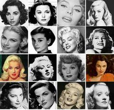 Elizabeth Taylor, Hedy Lamarr, Sophia Loren, Veronica Lake, Ingrid Bergman, Audrey Hepburn, Marilyn Monroe, Rita Hayworth, Diana Dors, Betty Grable, Lucille Ball, Vivien Leigh, Ava Gardner, Jane Russell, Jayne Mansfield, Marlene Dietrich.