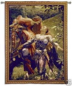 53x66 LA BELLE Knight Medieval Tapestry Wall Hanging