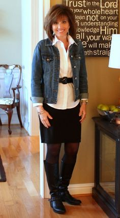 I Like white blouse with thick belt under jean jacket- could try with my long white blouse but need this belt