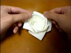 origami rose kitchen papertowel - YouTube