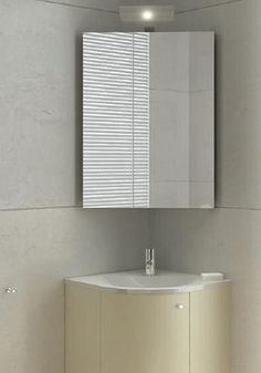 tiny bathroom with corner sink | modern bathroom design with corner sink and mirrored cabinet, space ...