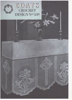 Crochet Altar Cloth, Cross and Lily Panel, no 20 Crochet Cotton, Crochet Cotton Pattern, Church Linen, Church Crochet, Traditional Crochet