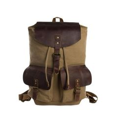 Camel Canvas Leather Backpack, Waxed Canvas Travel Backpack 1819