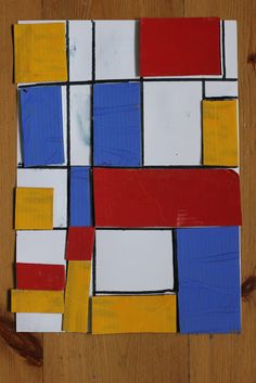Mondrian collage art work for kids-great idea for k, incorporates math and vocabulary about shapes