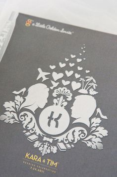 """The designed their own """"crest"""" for the wedding invites! They incorporated their silhouettes and things they love/ aspects of the wedding!"""