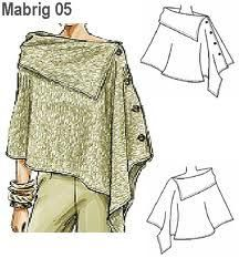 great poncho - no pattern but I think it would be easy to figure out Diy Clothing, Sewing Clothes, Clothing Patterns, Dress Patterns, Sewing Patterns, Redo Clothes, Knitting Patterns, Diy Vetement, Creation Couture