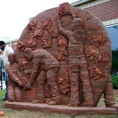 Brick sculptor Brad Spencer's installation in Gastonia, SC