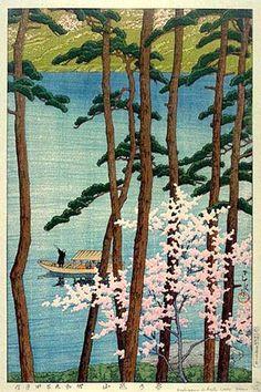 Arashiyama in Spring by Kawase Hasui, 1933 (published by Watanabe Shozaburo)