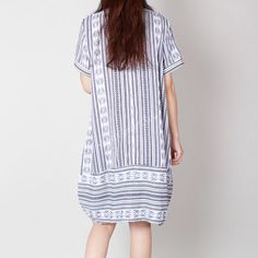 Original Women Loose Blue Stripe Leisure от Showcottonstyle