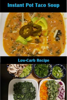 Delicious, spicy and warm low-carb taco soup! Make-ahead and meal prep this for the week for a quick lunch or dinner. Low Carb Taco Soup, Frozen Beef, Low Carb Recipes, Healthy Recipes, Lchf Diet, Health And Nutrition, Instant Pot, Food Porn, Lunch